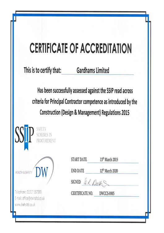 SSIP Certficate of Health and Safety Accreditation